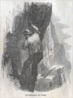 "Quarryman at work in one of the Penrhyn slate quarries, , in ""The Illustrated London News,"" April 17, 1858."