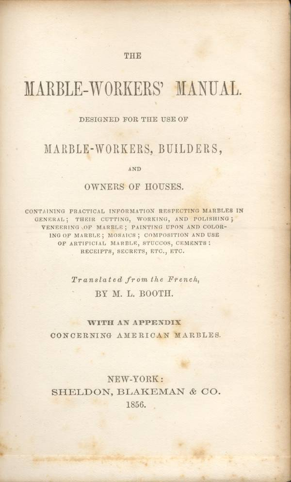index of   articles and books  marble workers manual  images