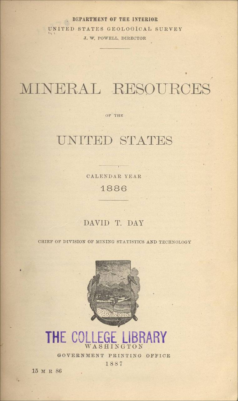 Mineral Resources Of The Us Calendar Year 1886