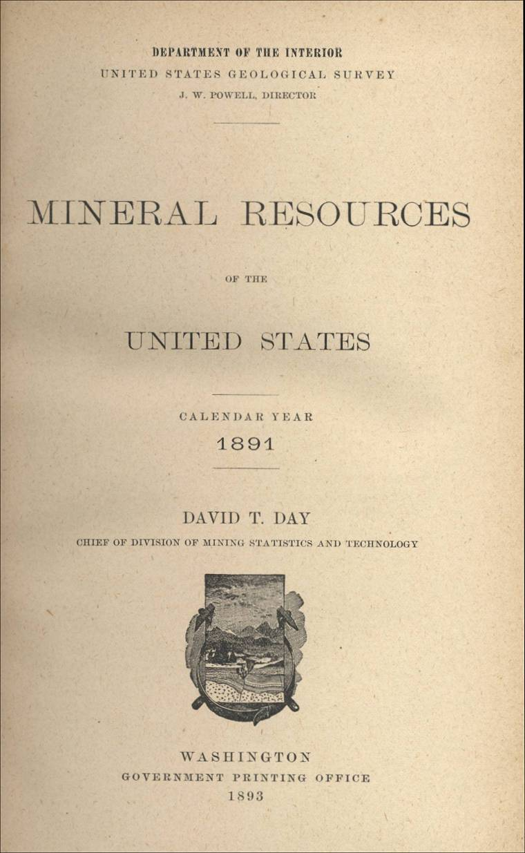 Mineral Resources Of The Us Calendar Year 1891