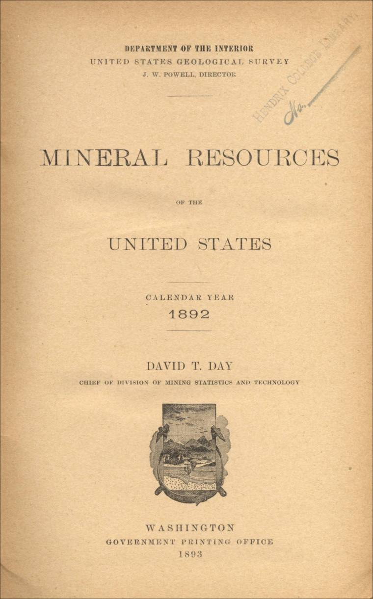 Mineral Resources Of The Us Calendar Year 1892