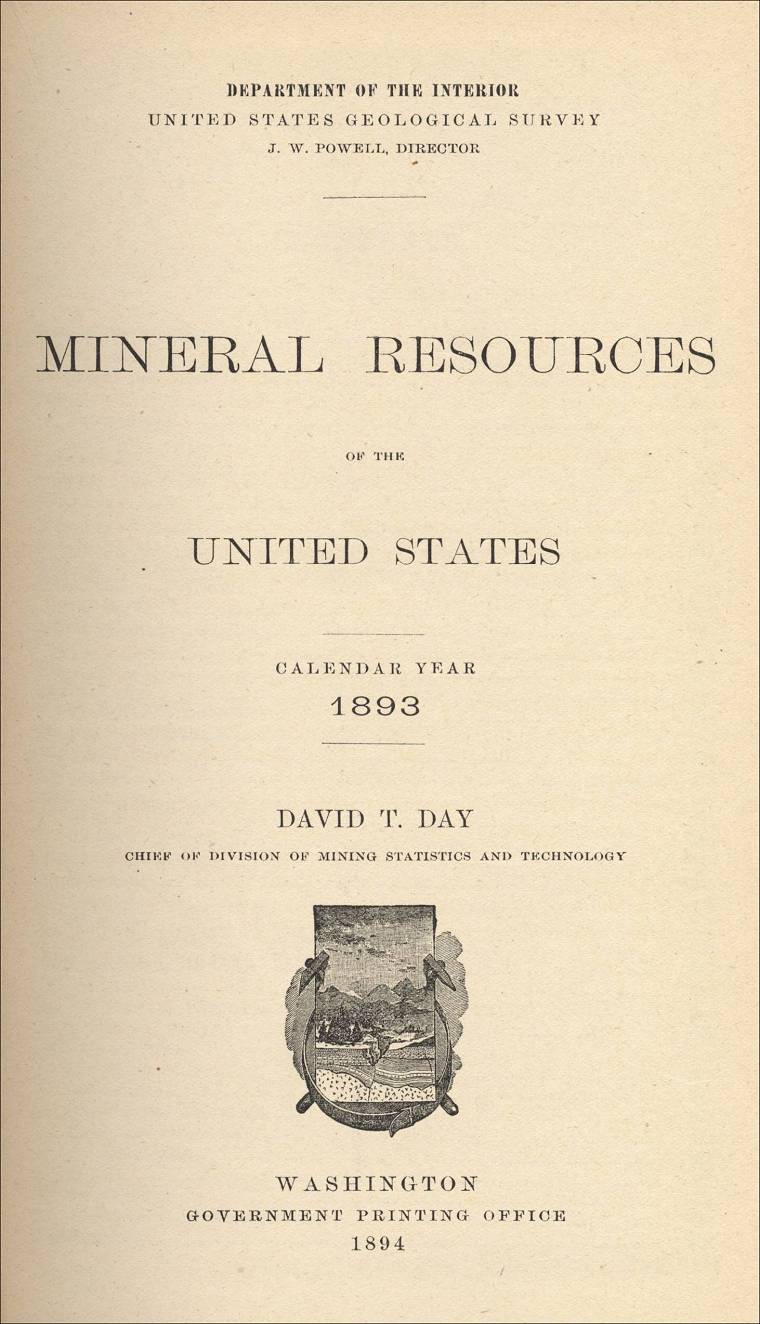 Mineral Resources Of The Us Calendar Year 1893