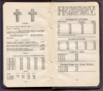 pp. 80 & 81 in the booklet, Monumental Estimates in Granite, showing crosses, and sandblast letters, raised letters, carving dies, & Carving Wedge and Hickey Marker sizes and prices