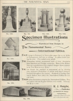 Cemetery Designs Advertisement by The Monumental News, November 1895, pp. 717