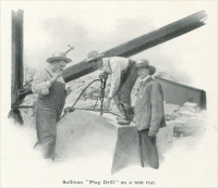 """Sullivan 'Plug Drill' on a test run."" ""Channeling Granite with Hammer Drills,"" in Mine and Quarry Magazine, Sullivan Machinery Co., Chicago, Illinois, February 1907, pp. 107"