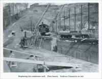 """Beginning the condenser well. First bench. Sullivan Channeler at left."" ""Channeling Rock Walls for Foundations,"" in Mine and Quarry, October 1912, pp. 642."