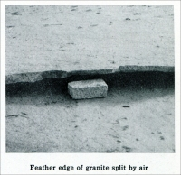 """Feather edge of granite split by air."" (From ""Cleaving Granite by Compressed Air,"" in ""Mine and Quarry,"" Sullivan Machinery Co., July-Aug. 1913, pp. 744-749.)"