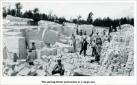 """The paving block production is a large one."" (From ""Cleaving Granite by Compressed Air,"" in ""Mine and Quarry,"" Sullivan Machinery Co., July-Aug. 1913, pp. 744-749.)"