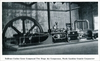"""Sullivan Corliss Cross Compound Two Stage Air Compressor, North Carolina Granite Corporation."" (From ""Cleaving Granite by Compressed Air,"" in ""Mine and Quarry,"" Sullivan Machinery Co., July-Aug. 1913, pp. 744-749.)"