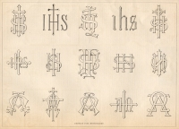 """Designs for Monograms,"" by R. Fischinger, New York, in The Monumental News, Vol. XVII, No. 8, August 1905, pp. 583."