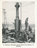 """A Sullivan Portable Rock Drill with Boiler, in Havana"" (Cuba). ""Device For Drilling in Trenches,"" in Mine and Quarry, October 1912, pp. 646."