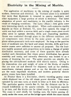 """Electricity in the Mining of Marble,"" in Electrical World and Engineer, Aug. 19, 1905, pp. 298 (Part 1 of 2)"