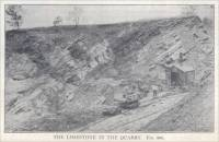 The Limestone in the Quarry, Montour County, Pennsylvania.  (circa 1908)
