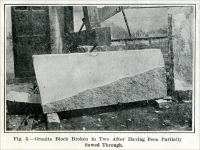 """Fig. 5. Granite Block Broken in Two After Having Been Partially Sawed Through."" From ""A Machine for Sawing Granite,"" ""Scientific American Supplement,"" July 27, 1912, pp. 57-58"