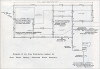 """Diagram of Air Pipe Distribution System for Gray Canon Quarry, Cleveland Stone Company"""