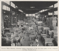 "In the main runway of the cutting department of the stone plant of H. J. Horner & Sons, Newark, New Jersey (""Stone,"" July 1924)"
