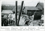 """Pennsylvania flagstone yard at Meshoppen, Wyoming County, showing storage and large flag on crane."" From ""Pennsylvania Building Stones,"" Part 1, in Stone, Feb. 1928"