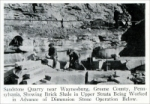 """Sandstone quarry near Waynesburg, Green County, Pennsylvania, showing brick shale in upper strata being worked in advance of dimension stone operation below."" From ""Pennsylvania Building Stones,"" Part 1, in Stone, Vol. XLIX, No. 1, Jan. 1928"