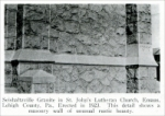"""Seishaltzville Granite in St. John's Lutheran Church, Emaus, Lehigh County, Pa., erected in 1923. This detail shows a masonry wall of unusual rustic beauty."" From ""Pennsylvania Building Stones,"" Part 1, in Stone, Feb. 1928"