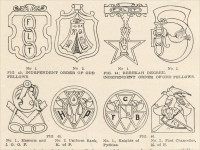 """Independent Order of Odd Fellows, Rebekah Degree, Masonic and I.O.O.F., Knights of Pythias, et al."" from The Manual of Monumental Lettering, early 1900s"