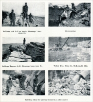 """Sullivan rock drill on bench, Shanango Limestone Co."" (from ""Quarrying with Hammer Drills,"" ""Mine and Quarry,"" Aug, 1911, pp. 538)"
