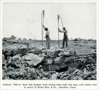"""Sullivan 'DB-19 hand feed hammer drilling holes eight feet deep, with hollow steel in quarry of Risley Bros. & Co., Jacksboro, Texas."" (from ""Quarrying with Hammer Drills,"" ""Mine and Quarry,"" Aug, 1911, pp. 540)"