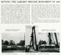 """Setting the largest private monument of 1908,"" the Muhlhauser monument in Cincinnati, Ohio, from The Monumental News, January 1909, pp. 42"