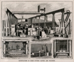 """Steam Stone Works,"" in Scientific American, February 6, 1892, pp. 87. (engraving captions) ""Stone yard with traveling crane."" ""Rubbing bed."" ""Moulding machine."" ""Sawing."""
