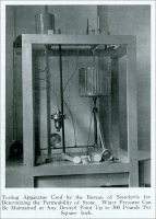 """Testing apparatus used by the Bureau of Standards for determining the permeability of stone. Water pressure can be maintained at any desired point up to 300 pounds per square inch.""  From ""A Study of Practical Problems for the Marble Industry,"" by D. W. Kessler, in Stone, Vol. XLVI, No. 8, August 1925"