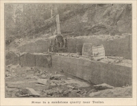 "Channeler in operation in a sandstone quarry near Tenino, Washington, circa 1909. ""Tenino, Washington,"" The Coast, 1909."