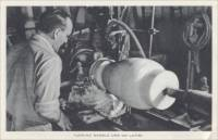 """Turning marble urn on lathe"" Vermont Marble Co. (postcard photo)"
