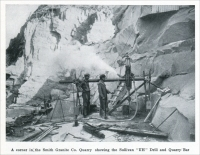 """A corner in the Smith Granite Co. Quarry showing the Sullivan 'UH' Drill and Quarry Bar."" (from ""Westerly Granite"" (Rhode Island), ""Mine and Quarry,"" Sullivan Machinery Co., Chicago, Illinois, Jan. 1913, pp. 690)"