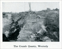 """The Crumb Quarry, Westerly."" (from ""Westerly Granite"" (Rhode Island), ""Mine and Quarry,"" Sullivan Machinery Co., Chicago, Illinois, Jan. 1913, pp. 691)"