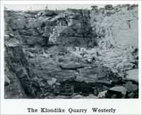 """The Klondike Warry, Westerly."" (from ""Westerly Granite"" (Rhode Island), ""Mine and Quarry,"" Sullivan Machinery Co., Chicago, Illinois, Jan. 1913, pp. 691)"
