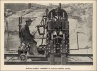 """Sullivan duplex channeler at Arizona Marble quarry."" (From ""Marble Quarrying in Arizona,"" in ""Mine and Quarry Magazine,"" Sullivan Machinery Co., Oct. 1910, pp. 442)"