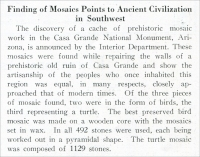 """Finding of Mosaics Points to Ancient Civilization in Southwest"" (in Casa Grande National Monument, Arizona – from ""Stone,"" July 1925, pp. 419"