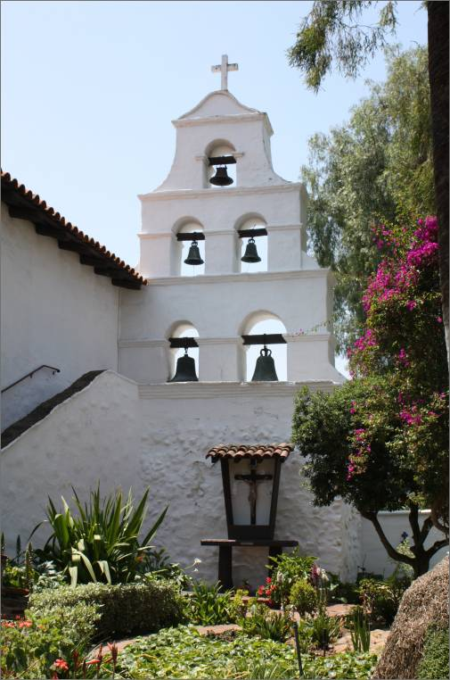 San Diego Mission Garden behind the Campanario / Bell Tower