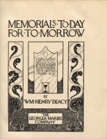 "Title page from ""Memorials: To-Day, For To-Morrow,"" by William H. Deacy, the Georgia Marble Co."