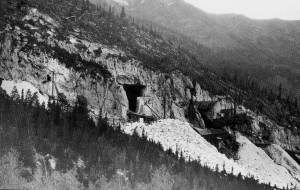 Entrance to the Yule Marble quarry on the flanks of Treasure Mountain in the Elk Mountains taken by Vanderwilt of the USGS in 1937