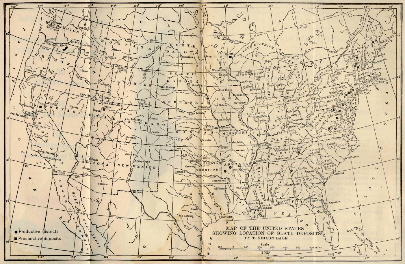 Slate Deposits And Slate Industry Of The United States Page - Us map 1905