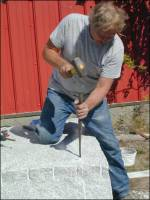 Steve giving a granite cutting demonstration