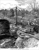 """A View of the Bedford Stone Quarries"" (in Indiana), ""The Manufacturer and Builder,"" Dec. 1884"