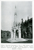 """Soldiers' Memorial Monument of No. 1 Buff Indiana Limestone in Yard of the St. James Church, Toronto, Ontario. Architects: Sproatt & Rolph. Stone furnished by Indiana Quarries Company."" From ""Carved Stone in Soldiers' Memorials"" in Stone, August 1925, pp. 477-478"