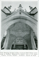 """View showing groined ceiling of carved buff Indiana Limestone in Soldiers' Memorial in Church Yard of St. James Church, Toronto, Ontario. Architects: Sproatt & Rolph."" From ""Carved Stone in Soldiers' Memorials"" in Stone, August 1925, pp. 477-478"