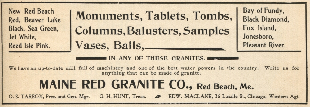 Granite Companies Near Me : Maine Red Granite Company , Red Beach, Maine (Advertisement from The ...