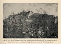 View of the summit of Pilot Knob showing the massive nature of the porphyry rock, the vertical fissures and the angular blocks produced by the falling of the hanging wall. (Missouri, circa 1891)