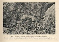View of a porphyry breccia boulder showing flow structure. From the south hill-side of the Manganese Mines. (Missouri, circa 1891)