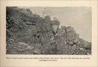 View of the north-east side of Pilot Knob, just above the ore bed, showing the pseudo-bedding in porphyry. (Pilot Knob, Missouri, circa 1891)