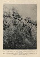 View of porphyry bluff and needle showing vertical fissures and absences of bedding seams, right bank of Little St. Francois River, Missour, circa 1891.