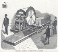 Branch's Diamond Stone-Sawing Machine, patented by Joseph W. Branch, Branch, Crookes & Co., St. Louis, Missouri (1876)